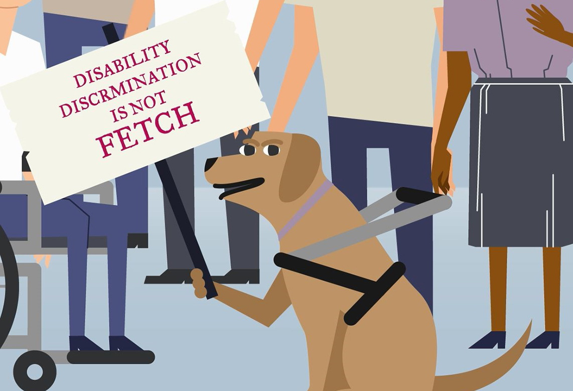 Cartoon guide dog with sign 'disability discrimination is not fetch'