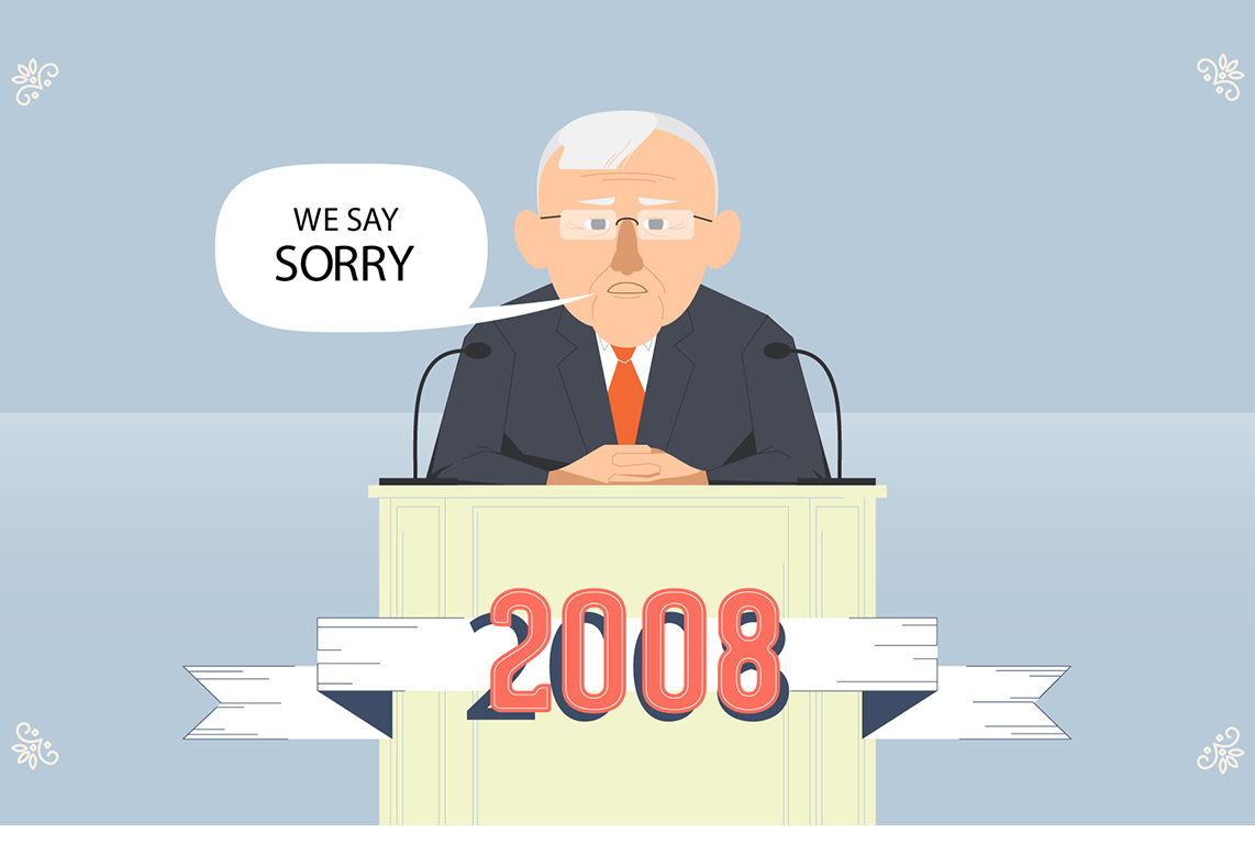 cartoon PM Rudd saying sorry