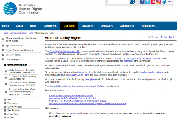 Weblink – About disability rights