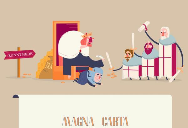 King John and nobles with Magna Carta